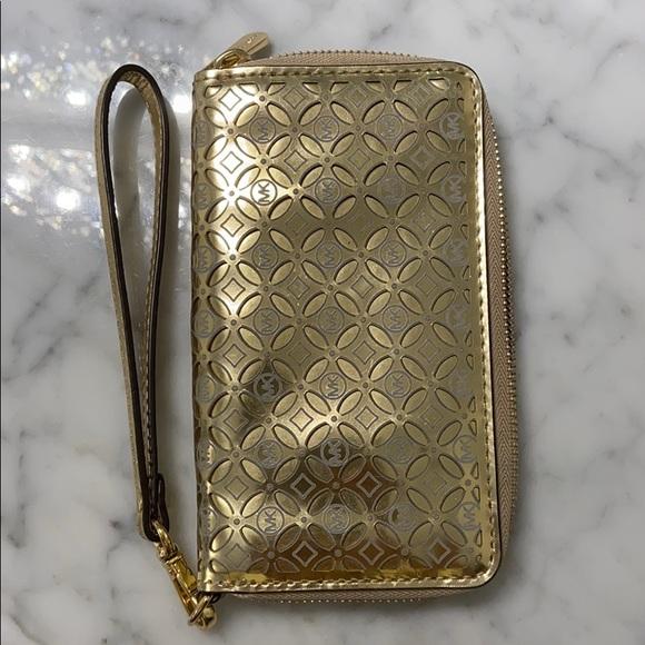 Gold Michael Kors Wristlet